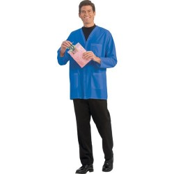 Worklon - 3504 - Static Dissipative Unisex Short Coats, V-Neck, Royal Blue, Small