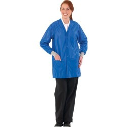 Worklon - 3500 - Static Dissipative Unisex Short Coat w/esd cuffs, V-Neck, Royal Blue, Small