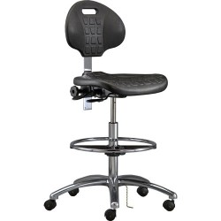 Bevco Precision - 7551E - Industrial ESD-Safe Polyurethane Chair Black with Tilt Seat & Back, Aluminum Base, 20-1/2 - 30-1/2