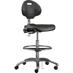 Bevco Precision - 7550 - Industrial Polyurethance Chair Black with Aluminum Base, 20-1/2 - 30-1/2
