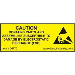 Desco - 06770 - Equipment Containing ESDS Label, 3/4 x 2, 500/Roll