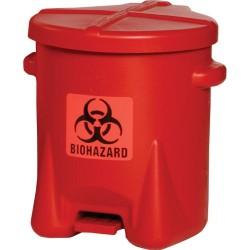 Eagle Mfg - 943BIO - Biohazard Waste Container 6 Gal Step-on Red Biohazard Symbol Label 16 Hx13-1/2 Wx16-1/2 D Polyethylene Eagle, Ea