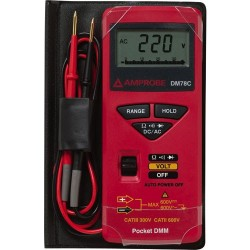Amprobe - DM78C - Credit Card Size Digital Multimeter, 3200 Count, Average, Auto, Manual Range, 3.75 Digit