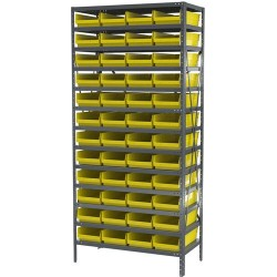 Akro-Mils / Myers Industries - AS1879158Y - Bin Shelving 48 Bin 75x36x18 Akromils 22 Gauge Steel 13 Shelves 350 Pound 165 Pound, Ea