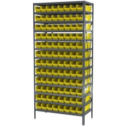 Akro-Mils / Myers Industries - AS1879128Y - Bin Shelving 96 Bin 75x36x18 Akromils 22 Gauge Steel 13 Shelves 350 Pound 171 Pound, Ea