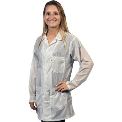 Tech Wear - LOJ-13-M - Med White Esd Safe Jacket W/3 Pockets