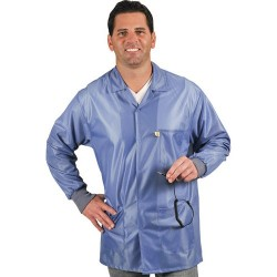 Tech Wear - LOJ-23C-XS - Groundable Anti-static Unisex Jacket with Knit Cuffs, X-Small, Blue