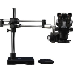 Luxo - 23725RB-USBSR-ESD - System 373 ESD Safe Trinocular Microscope w/Dual Boom Stand, LED Ring Light & USB Camera