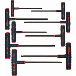 Eklind Tool - 60809 - Long T-Shaped Ergonomic SAE Black Oxide Ball End Hex Key Set, Number of Pieces: 9