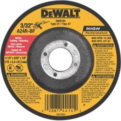 "Dewalt - DW8750 - 4-1/2"" x 3/32"" Depressed Center Wheel, Aluminum Oxide, 7/8"" Arbor Size, Type 27, Metal AO"