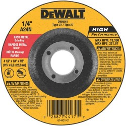 "Dewalt - DW4541 - 4-1/2"" x 1/4"" Depressed Center Wheel, Aluminum Oxide, 7/8"" Arbor Size, Type 27, Metal AO"