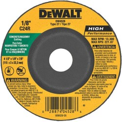 "Dewalt - DW4528 - 4-1/2"" x 1/8"" Depressed Center Wheel, Silicon Carbide, 7/8"" Arbor Size, Type 27, High Performance"