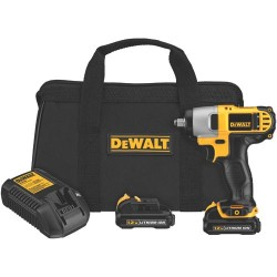 Dewalt - DCF813S2 - DeWALT Max* 12 V Lithium-Ion 2450 RPM Cordless Impact Wrench Kit With 3/8' Chuck (Includes Fast Charger, (2) 12 Volt Max* Lithium Ion Battery Packs And Contractor Bag), ( Each )
