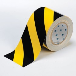 "Brady - 104377 - Brady 4"" X 100' Black And Yellow 0.008"" B-514 Polyester ToughStripe Floor Marking Tape"