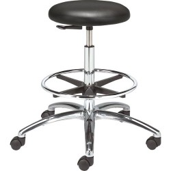 Bevco Precision - 3550C1V-ACF18-3850S/5 - Class 10 Cleanroom Stool with Casters (Seat Height: 24-34)