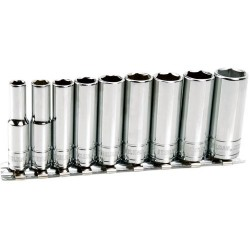 Steelman - 301320 - 9 Pc - 1/4 Drive Deep Socket Set - Metric - 6 Pt