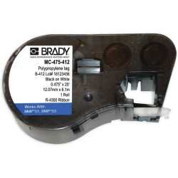 Brady - MC-475-412 - Black/White Label Cartridge, Adhesive Slide-in Strips Label Type, 240 Length, 19/40 Width