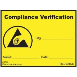 Desco - 06711 - Compliance Verification Write-On Label, Reusable, 1-1/2 x 2 1000/Roll