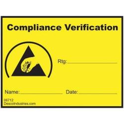Desco - 06712 - Compliance Verification Write-On Label, Permanent, 1-1/2 x 2 1000/Roll