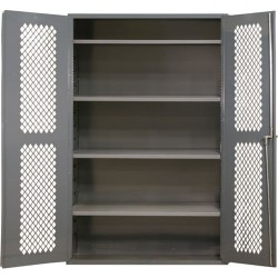 Durham - EMDC-361848-95 - Heavy Duty Mesh Storage Cabinet 14 Gauge Steel with 2 Shelves, 36 x 18 x 48