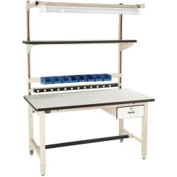 Pro Line - BIB2 - Heavy Duty Workstation Kit with ESD-Safe Top, 60 L x 30 D x 30 to 36 Adjustable Height