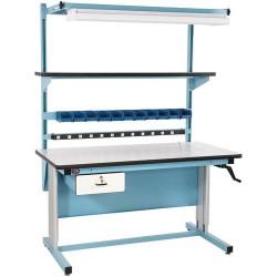 Pro Line - BIB16 - Ergo Workbench Kit with ESD-Safe Top, 60 L x 30 D x 30 to 42 Hand Crank Adj. Height