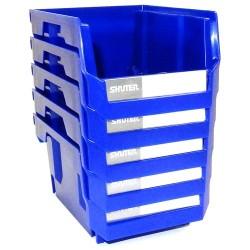 Shuter - 1010001 - Ultra Storage Nest and Stack Parts Bins, Blue, 4 x 7.4 x 3, 5/Pkg