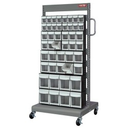 Shuter - 1010021 - 2-Sided Mobile Rack with 46 Flip-Out Bins and Peg Board