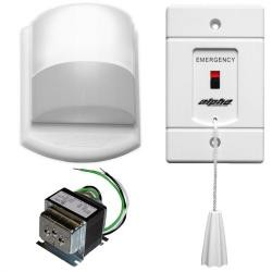 Alpha Communications - EK117B - Toilet emergency alarm kit for stand-alone emergency call applications and ADA jobs. Includes pull cord, dome light/buzzer, and transformer