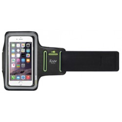 JWin / iLuv - UP1ARMBBK - iLuv Sports Armband Carrying Case (Armband) for iPhone 6S Plus, iPhone 6 Plus, Smartphone, iPod touch - Transparent, Black - Moisture Resistant, Sweat Resistant - Armband