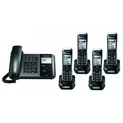 Panasonic - KX-TGP550T04-BL3 - TGP550 SIP DECT Phone Corded / Cordless Base Bundle with 4 Handsets