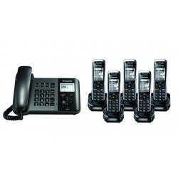 Panasonic - KX-TGP550T04-BL4 - TGP550 SIP DECT Phone Corded / Cordless Base Bundle with 5 Handsets
