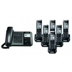 Panasonic - KX-TGP550T04-BL5 - TGP550 SIP DECT Phone Corded / Cordless Base Bundle with 6 Handsets