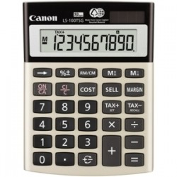 Canon - 4639B001 - Canon LS100TSG Mini-desktop Calculator - Angled Display, Auto Power Off - 10 Digits - LCD - Battery/Solar Powered - 1.3 x 4.1 x 5.5