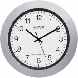 La Crosse Technologies - WT-3102S - La Crosse Technology(R) WT-3102S 10 Silver & Black Atomic Wall Clock