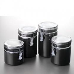Anchor Hocking - 03923MR - Canister Set Black Ceramic 4pc