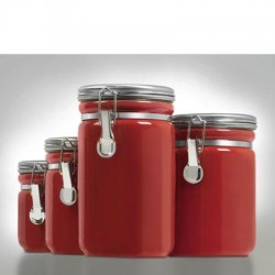 Anchor Hocking - 03923RED - Canister Set Red Ceramic 4pc