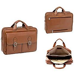 McKlein / Siamod - 15564 - McKleinUSA 15.6 Leather Double Compartment Laptop Briefcase - Shoulder Strap, Hand Strap15.4 Screen Support - 12 x 16.5 x 5 - Leather - Brown