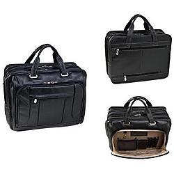 McKlein / Siamod - 15715 - McKleinUSA 15.6 Leather Fly-Through Checkpoint-Friendly Laptop Briefcase - Shoulder Strap, Hand Strap17 Screen Support - 13.5 x 16.5 x 11 - Leather - Black