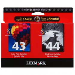 Lexmark - 18Y0372 - Lexmark No. 43/44 Twin Pack High Yield Black and Color Ink Cartridge - Inkjet - 2 / Pack