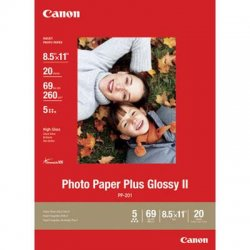 "Canon - 2311B001 - Canon PP-201 Photo Paper - Letter - 8.50"" x 11"" - Glossy - 20 / Pack - White"