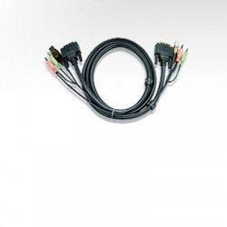 Aten Technologies - 2L7D02UD - Aten 2L-7D02UD Dual Link KVM Cable Adapter - 5.91 ft - 2 x Mini-phone Male Audio, 1 x DVI (Dual-Link) Male Digital Video, 1 x Type A Male USB - 1 x Type B Male USB, 2 x Mini-phone Male Audio, 1 x DVI-D (Dual-Link) Male