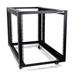 StarTech - 4POSTRACK12A - StarTech.com 12U 4 Post Server Equipment Open Frame Rack Cabinet w/ Adjustable Posts & Casters - 12U Wide - Black - Steel - 596 lb x Maximum Weight Capacity - TAA Compliant
