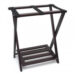 Lipper - 502E - Lipper NEW Right Height Folding Luggage Rack with Bottom Shelf, Espresso Finish - Closet - Pine Wood - 1