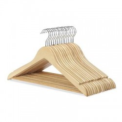 Whitmor - 6026-715-16 - Whitmor Hanger - for Coat - Wood, Chrome - Natural - 16 / Set