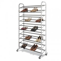 Whitmor - 60603510 - Whitmor Display Rack - 50 x Shoes - 10 Compartment(s) - 59.5 Height x 36.5 Width x 14.6 Depth - Floor - Chrome, Black - Metal