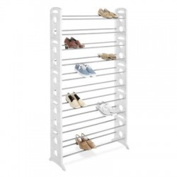 Whitmor - 64861917WHT - Whitmor Display Rack - 50 x Shoes - 62.3 Height x 35.5 Width x 12 Depth - Floor, Wall Mountable - White - Resin