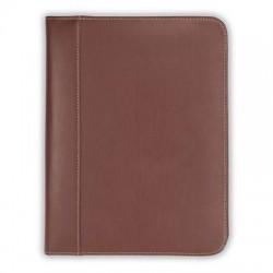 Samsill - 71726 - Samsill Contrast Stitch Leather Zipper Padfolio - Letter - 8 1/2 x 11 Sheet Size - Leather - Tan