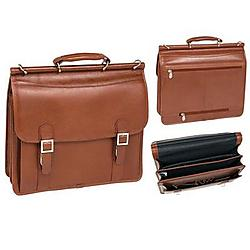 McKlein / Siamod - 80334 - McKleinUSA 15.6 Double Compartment Laptop Briefcase - Shoulder Strap, Hand Strap15.4 Screen Support - 12 x 16.5 x 5.5 - Leather - Brown