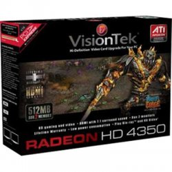VisionTek - 900308 - Visiontek 900308 Radeon HD 4350 Graphic Card - 512 MB DDR2 SDRAM - PCI Express 2.0 x1 - Low-profile - 800 MHz Memory Clock - 128 bit Bus Width - 2560 x 1600 - DirectX 10.1 - PC - 2 x Monitors Supported